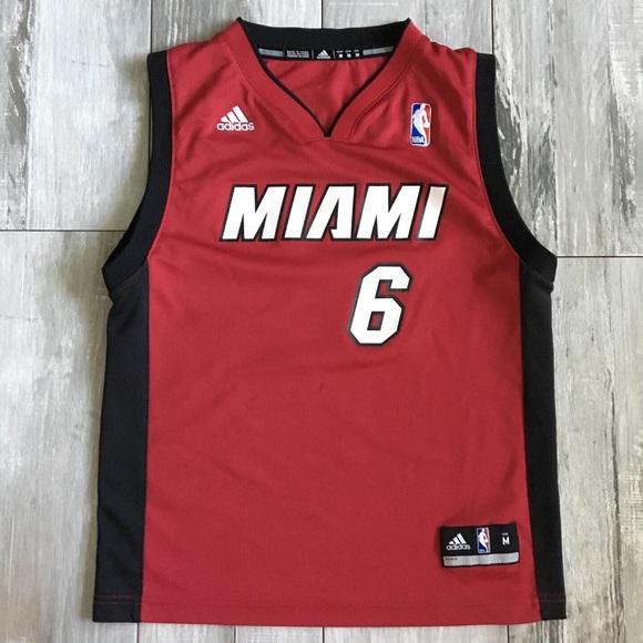 new product 793f9 17d5e Adidas Miami Heat Lebron James No. 6 Youth Jersey
